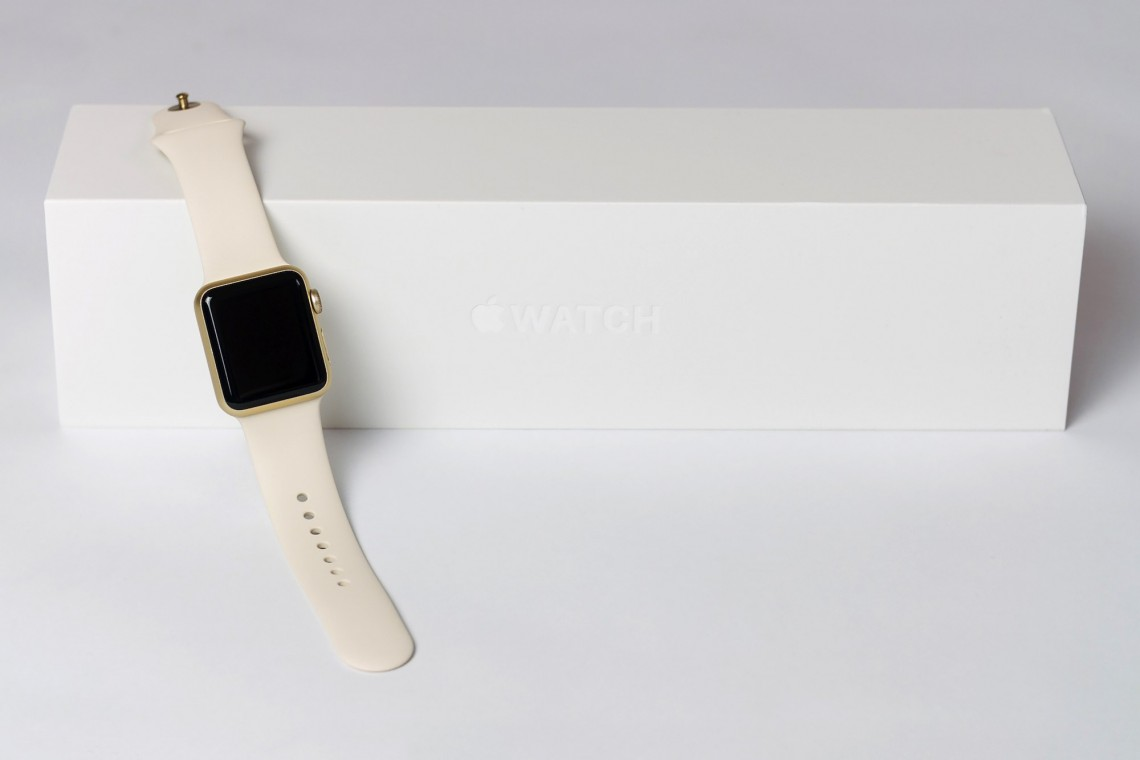Apple Watch Sport 38mm with Gold Aluminum Case and Antique White Sport Band