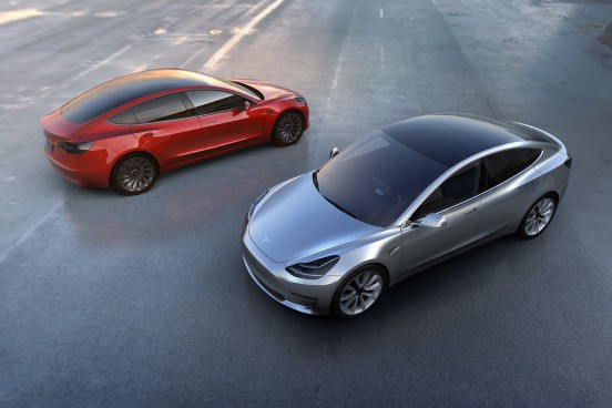 Tesla Model 3 in silver and red