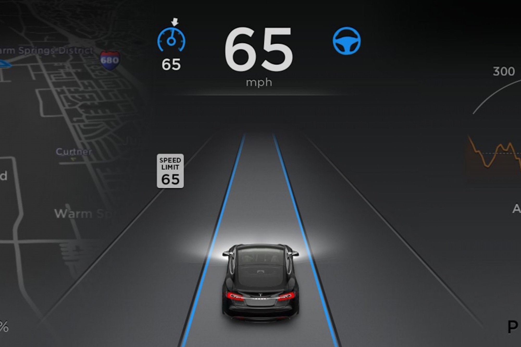 Tesla Model S Autopilot Dashboard Feature Software View