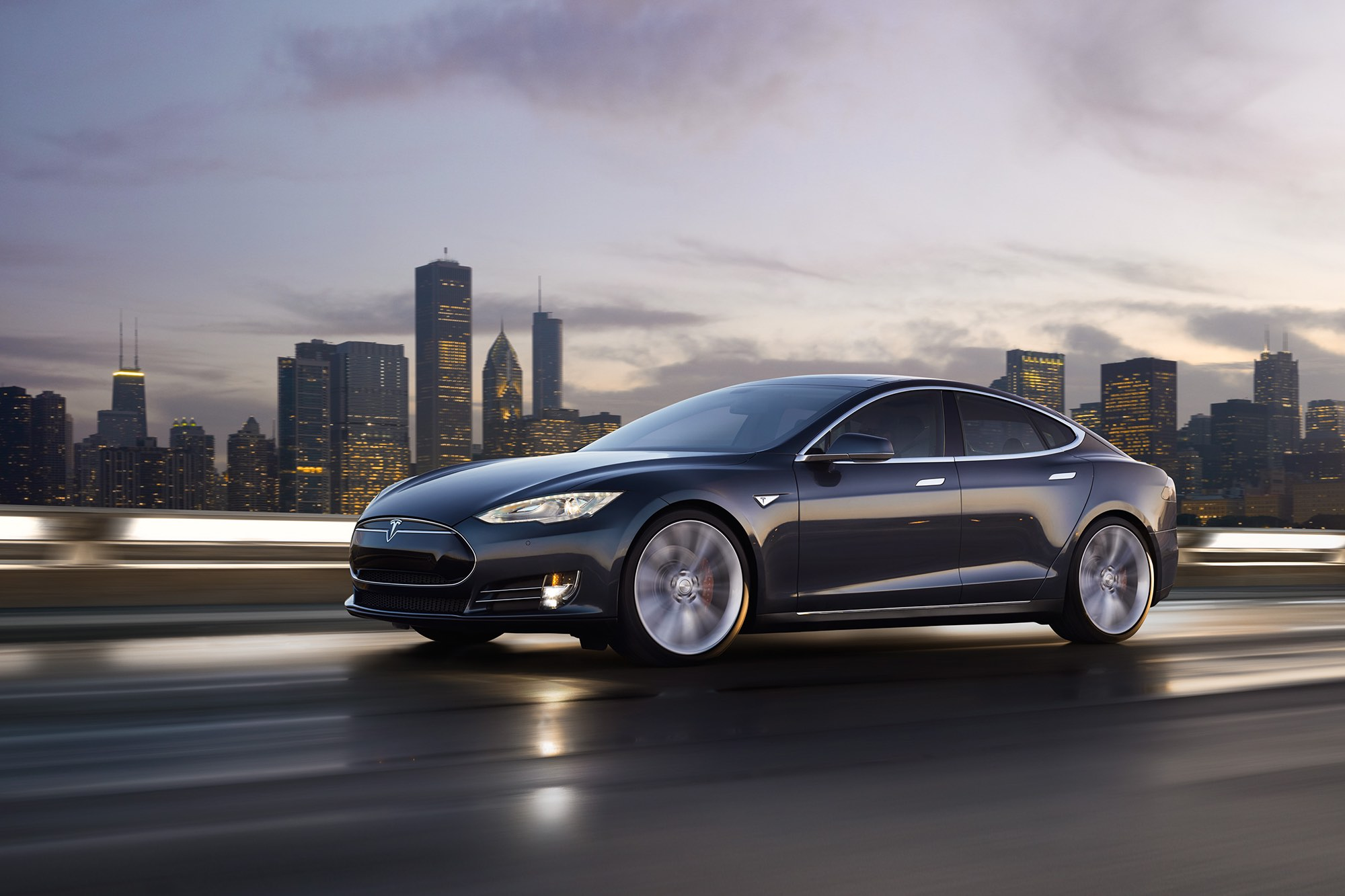 Tesla Model S on highway in motion