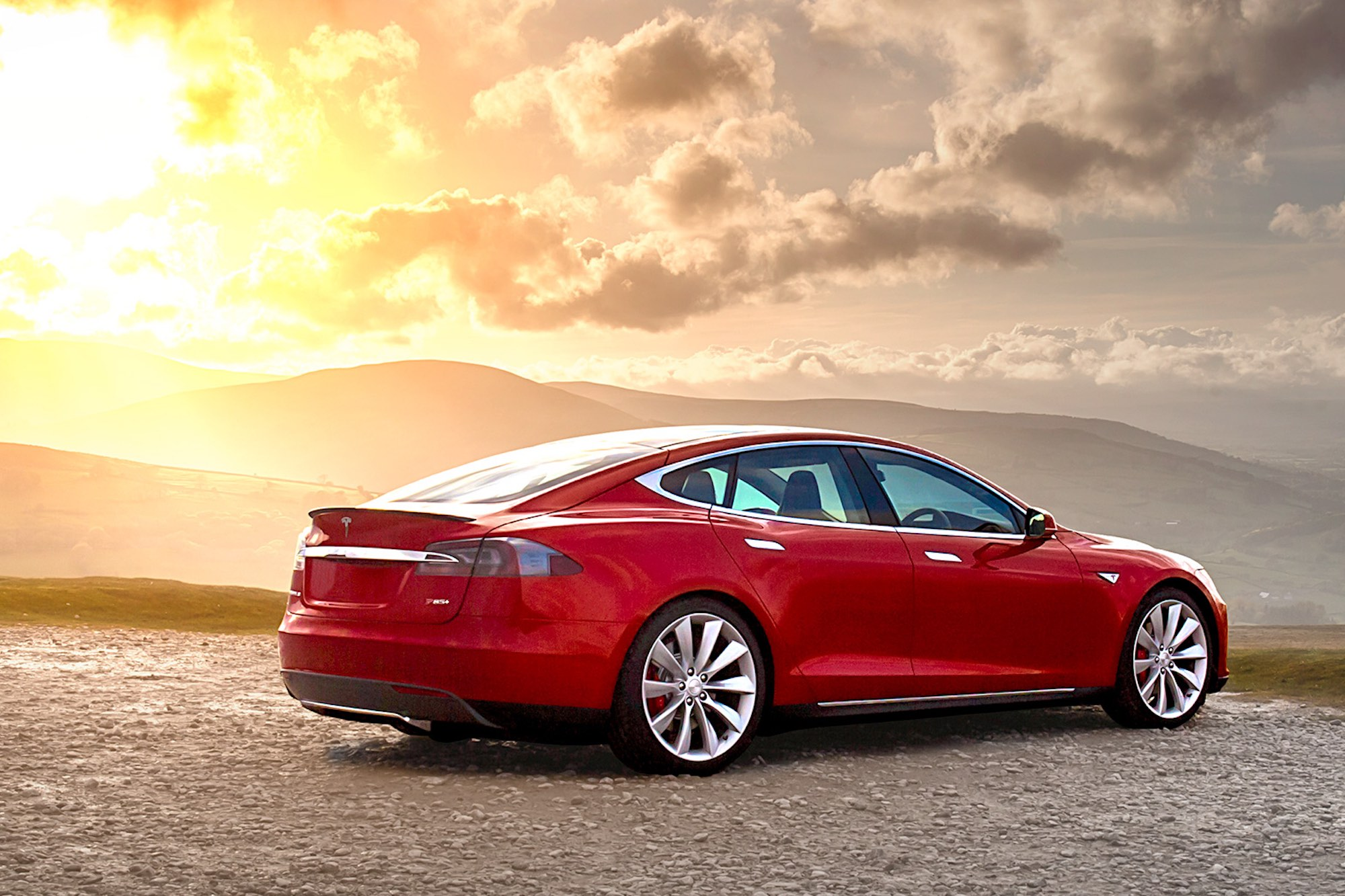 Tesla Model S at sunset